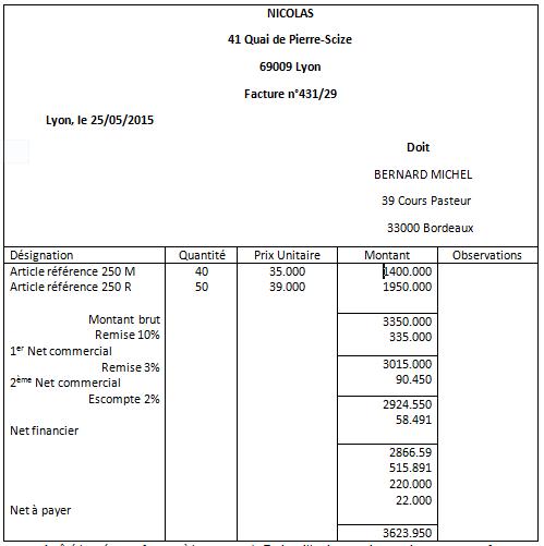 Exemple facture vente
